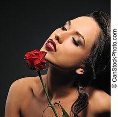 piękny, róża, kobieta, czerwony, portret