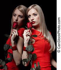 piękny, róża, kobieta