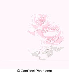 piękny, róża, kwiat, rysunek