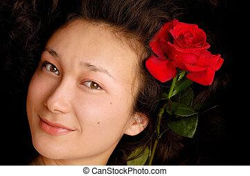 piękny, róża, młody, twarz, asian dziewczyna, czerwony