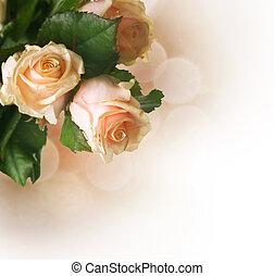piękny, róże, sepia, border., nastrojony
