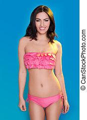 piękny, różowy, bikini, przedstawianie, dziewczyna