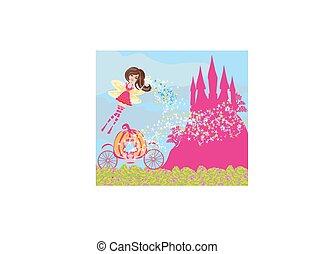 piękny, różowy, fairytale, zamek