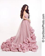 piękny, różowy, kobieta, fason, suknia, brunetka, soczysty, ...