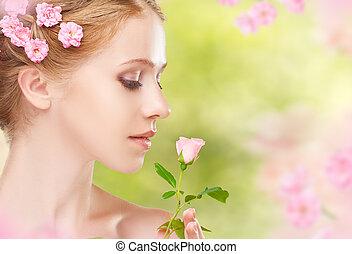 piękny, różowy, kobieta, jej, piękno, kwiaty, młody, twarz, ha