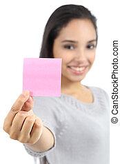 piękny, różowy, kobieta, pokaz, papier listowy, czysty