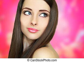 piękny, różowy, kobieta twarz, tło., closeup, portret