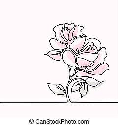 piękny, różowy kwiat, rysunek, róża