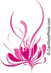 piękny, różowy, lotos, rozkwiecony