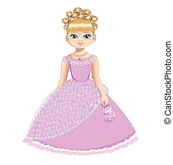 piękny, różowy strój, księżna