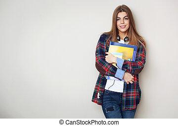 piękny, reputacja, student, młody, przeciw, wall., książki, samica, portret