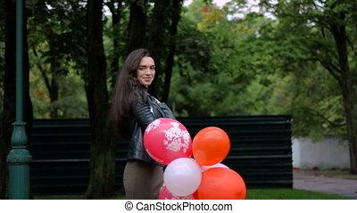 piękny, reputacja, ulica, dziewczyna, balony, szczęśliwy