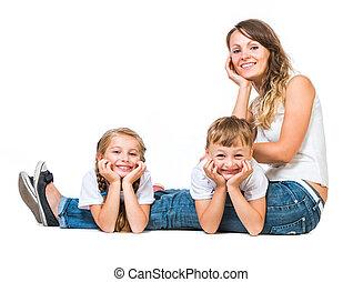 piękny, rodzina, szczęśliwy