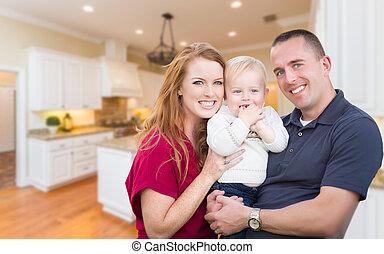 piękny, rodzina, wnętrze, młody, ich, wojskowy, kuchnia