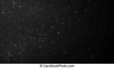 piękny, ruchomy, biały, organiczny, kurz, cząstki, na, czarne tło, w, powolny, motion., looped, 3d, animation., dynamiczny, wiatr, cząstki, lecąc w powietrzu, z, bokeh, plama, seamless., 4k, ultra, hd, 3840x2160