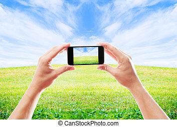 piękny, ruchomy, fotografowanie, krajobraz, telefon