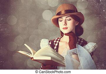 piękny, rudzielec, kobiety, z, book.