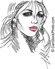 piękny, rys, kobieta, face., ilustracja, wektor