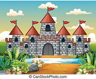 piękny, rysunek, opowiadanie, wróżka, zamek, krajobraz