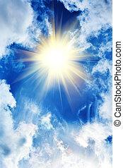 piękny, słońce, chmury, niebo
