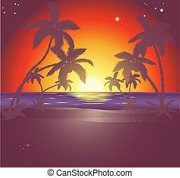 piękny, s, plaża, ilustracja