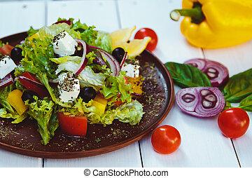 piękny, sałata, drewniany stół, roślina, świeży