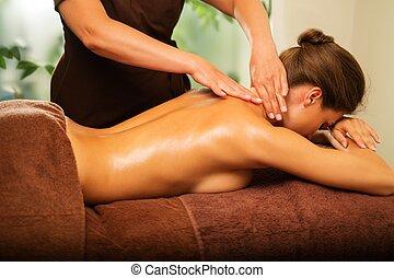 piękny, salon, kobieta, młody, zdrój, posiadanie, masaż