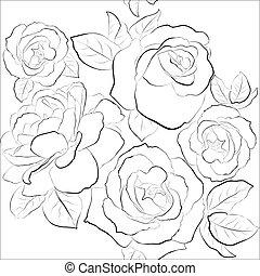 piękny, seamless, tło, z, róże