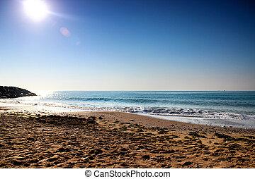 piękny, seascape., rano