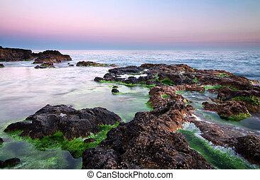 piękny, seascape., sky., brzeg, morze, sunset.