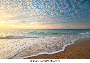 piękny, seascape.