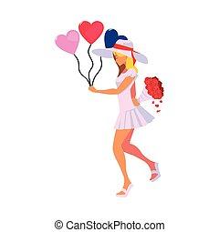 piękny, serca, kobieta, balony