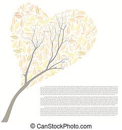 piękny, serce, drzewo, jesień, formułować, projektować, twój