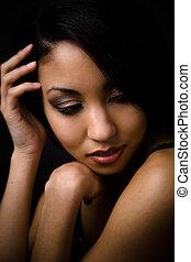 piękny, sexy, amerykańska kobieta, afrykanin