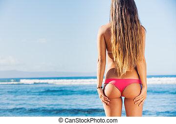 piękny, sexy, bikini, kobieta, młody