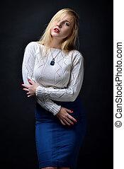 piękny, sexy, blondynka, kobieta, portret
