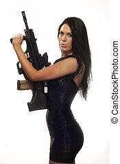 piękny, sexy, kobieta, uzbrojony