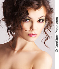 piękny, sexy, portret kobiety, charakteryzacja