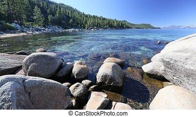 piękny, shoreline, jezioro tahoe