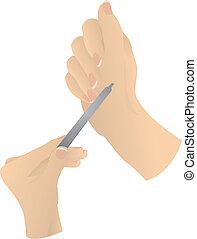 piękny, siła robocza, samica, manicure