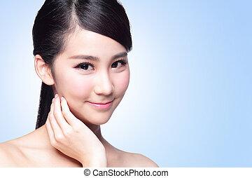 piękny, skóra troska, kobieta twarz