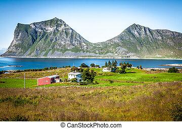 piękny, skandynawia, norwegia, krajobraz