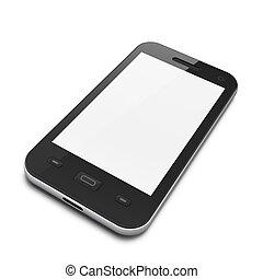 piękny, smartphone, czarnoskóry, highly-datailed