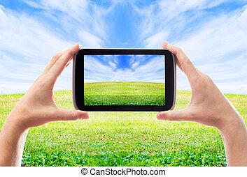 piękny, smartphone, obrazy, ręka, ludzki, krajobraz