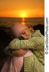 piękny, spanie, zachód słońca, czas, dziewczyna, plaża