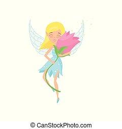 piękny, sprytny, character., różowy, projektować, blond, dziewczyna, wings., mały, kwiat, przelotny, godny podziwu, płaski, błękitny, chochlik, dress., rysunek, hands., fairytale, powieściowy, wektor, wróżka