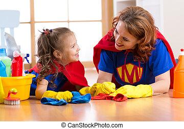 piękny, sprytny, kobieta, córka, podobny, ubrany, macierz, house., czyszczenie, dziecko, gotowy, superheroes., koźlę