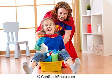 piękny, sprytny, mały, córka, podobny, jej, ubrany, czyszczenie, macierz grająca, superheroes
