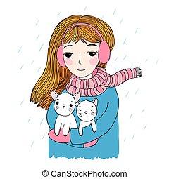 piękny, sprytny, mały, kittens., młody, dwa, dziewczyna