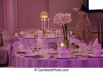 piękny, stół, komplet, ślub